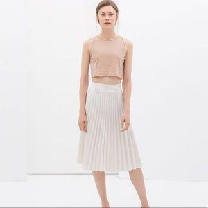 ZARA Pleated White Skirt